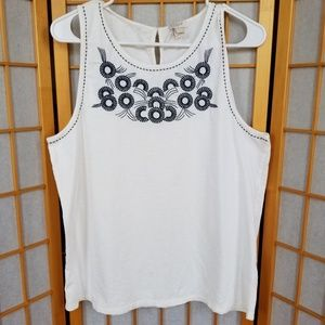 J. Crew Embroidered Sleeveless Blouse